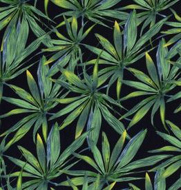 Nooteboom viscose jersey navy met groene plantenprint