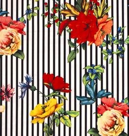 Nooteboom COUPON crepe digital print flowers & stripes zwart 180x150cm