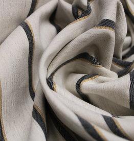 Poppy Linen bengaline stripe navy/gold