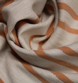 Poppy Linen bengaline stripe koraal/silver