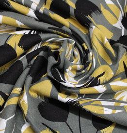 Nooteboom Flowers oker/kaki viscoselinnen