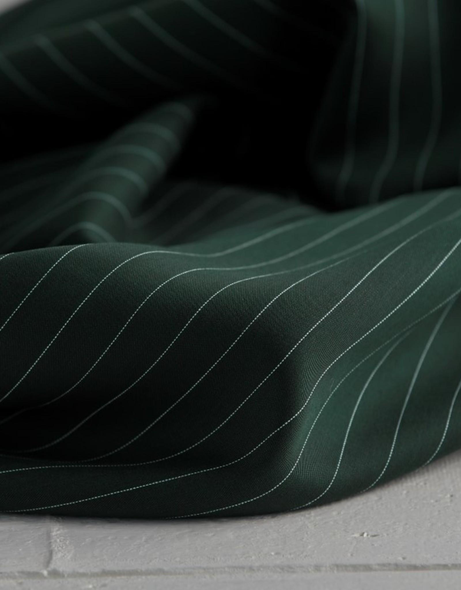 Meet Milk Tencel pin stripe twill deep green