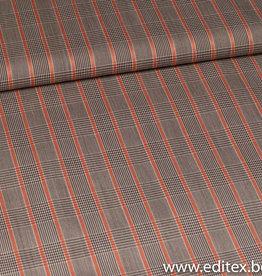 Bruin geruit oranje streep