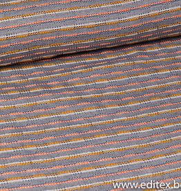 Jacquard chanel blauw-wit-oker-oranje