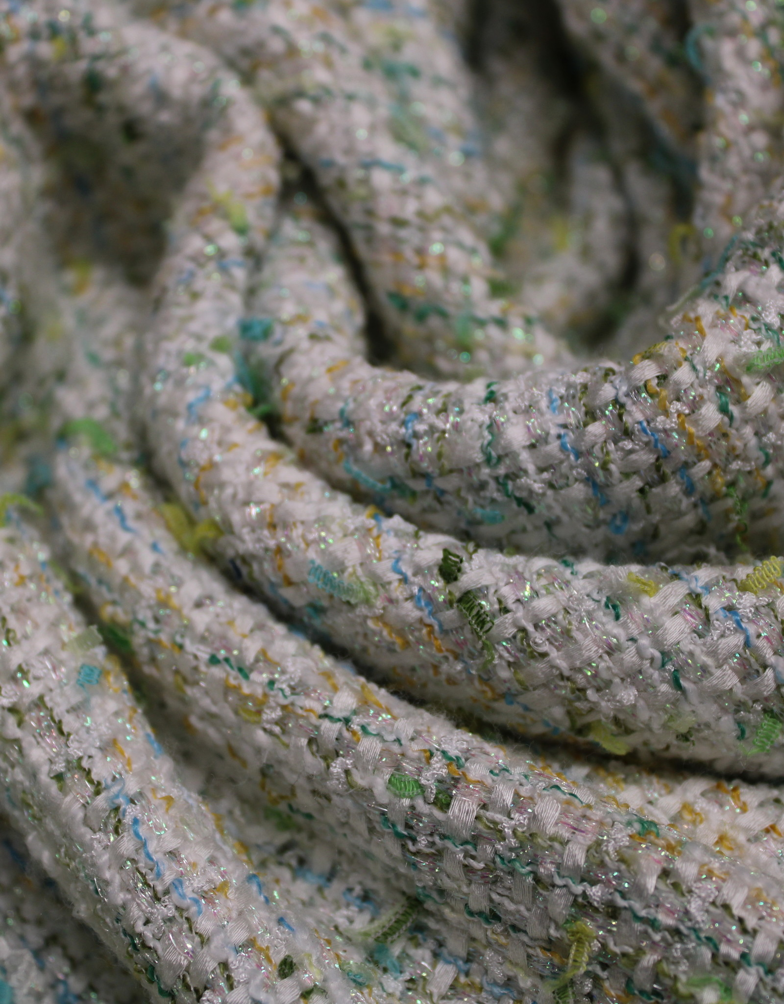 Jacquard chanel glitter groen-geel-turqoise tweed