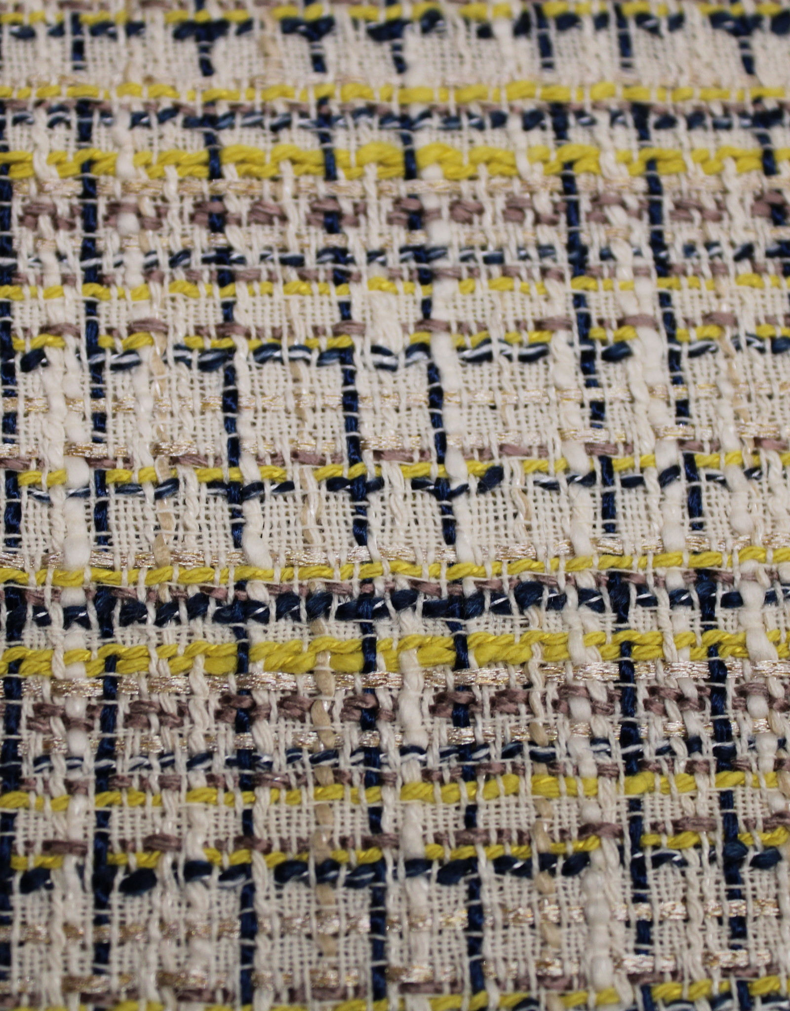 COUPON Jacquard chanel beige-blauw-geel 85x140cm