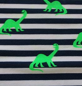 Qjutie Neon dino gestreept tricot