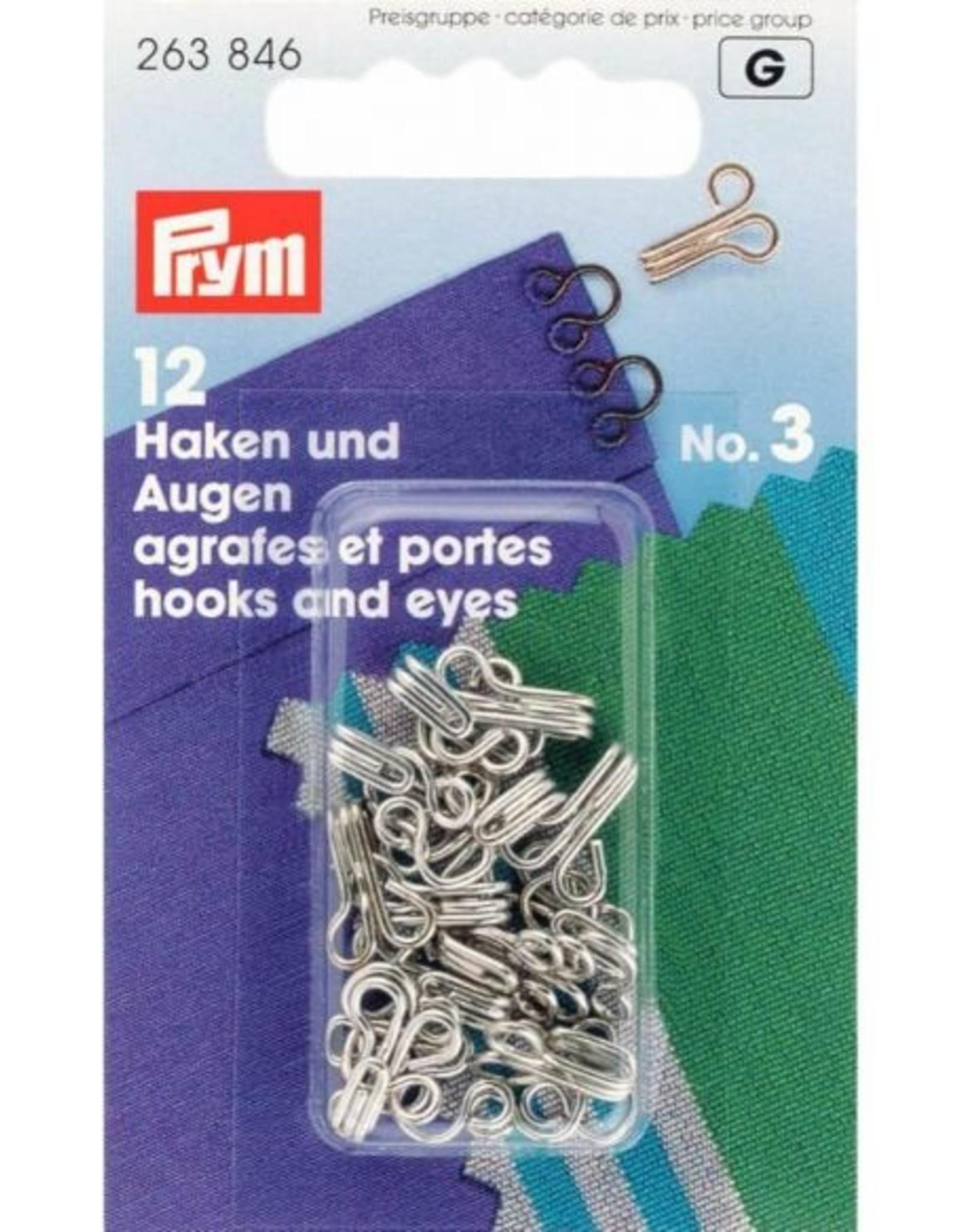 Prym prym - haken en ogen no.3 zilver - 263 846