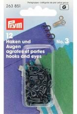 Prym prym - haken en ogen no.3 zwart - 263 851