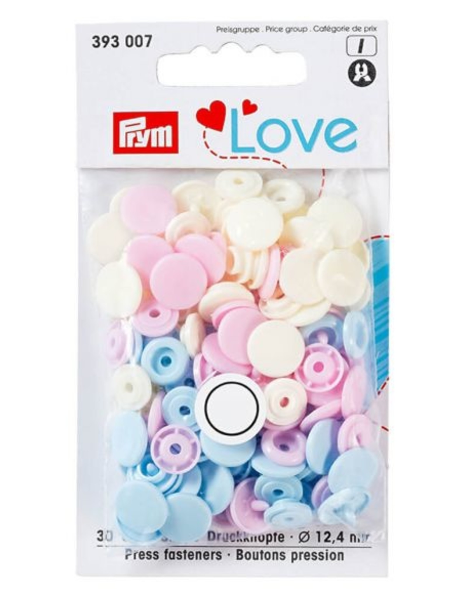 Prym Prym - love drukknopen wit/lichtblauw/roze - 393 007