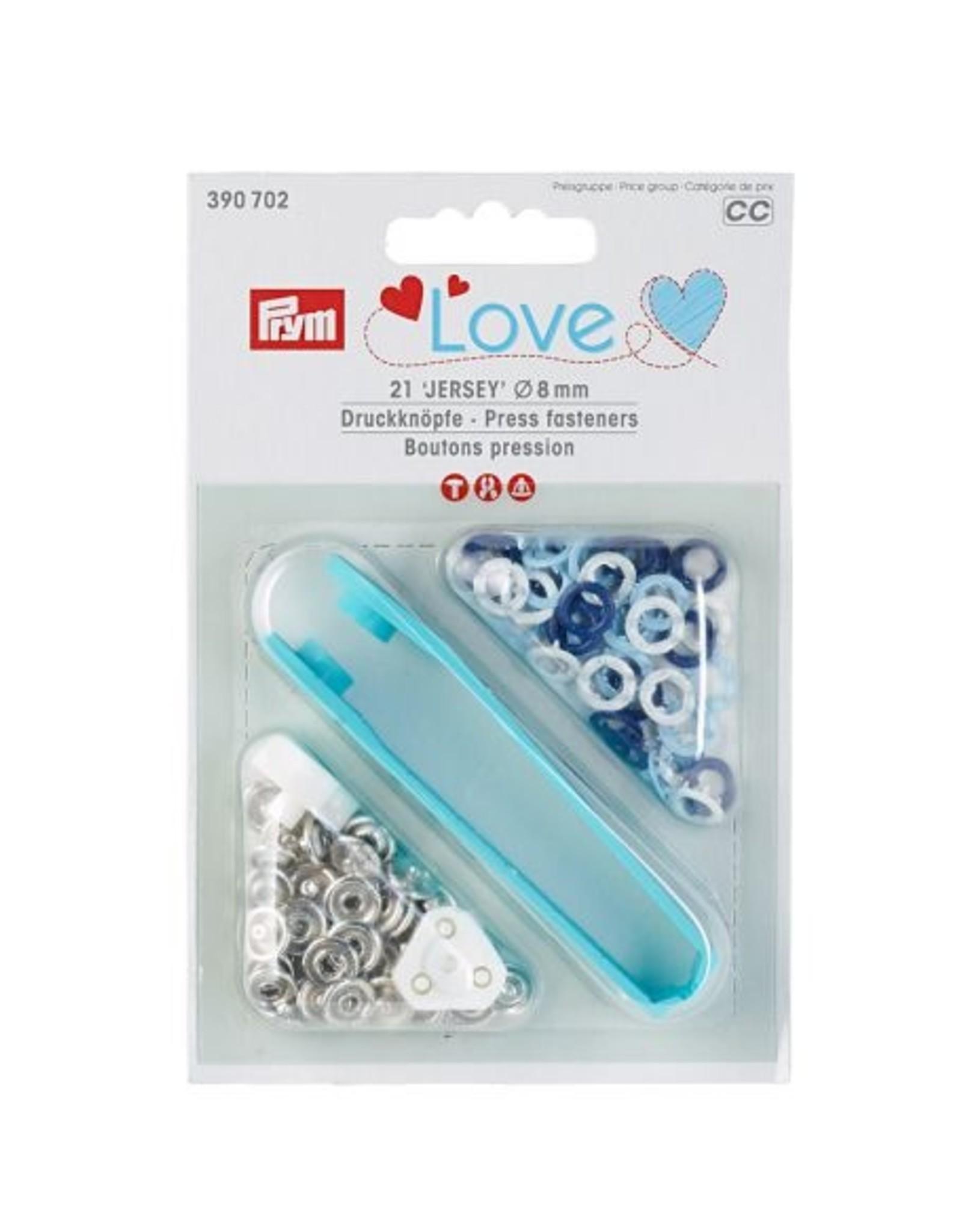 Prym Prym - Drukknopen blauw/wit/lichtblauw Jersey 8mm - 390 702