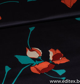COUPON Crepe satijn orange flowers 190x145cm