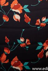 COUPON Crepe satijn orange flowers 190x145cm
