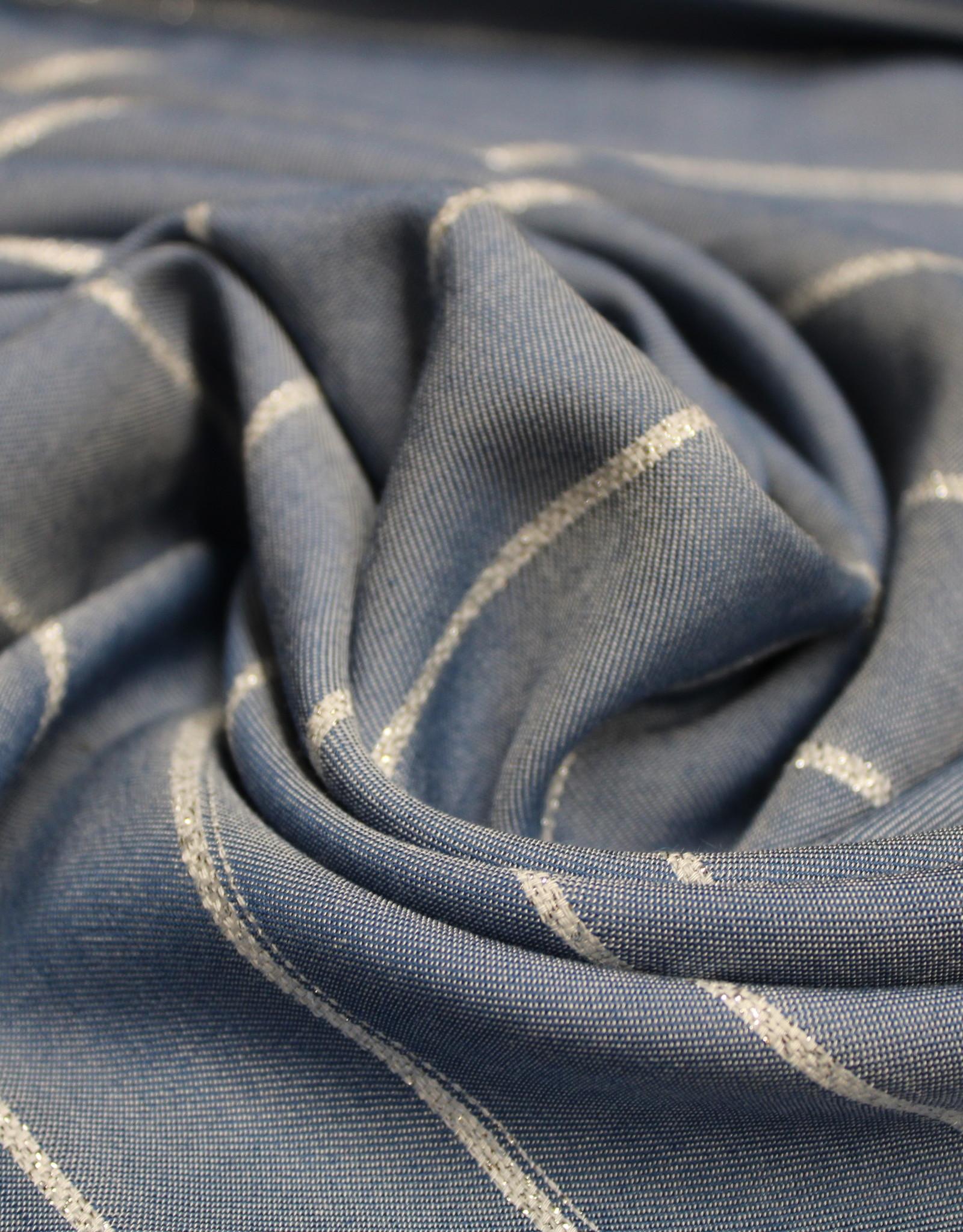 Viscose jeans met zilver lurex streep