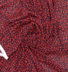 Viscosecrepe tijgerprint rood/zwart