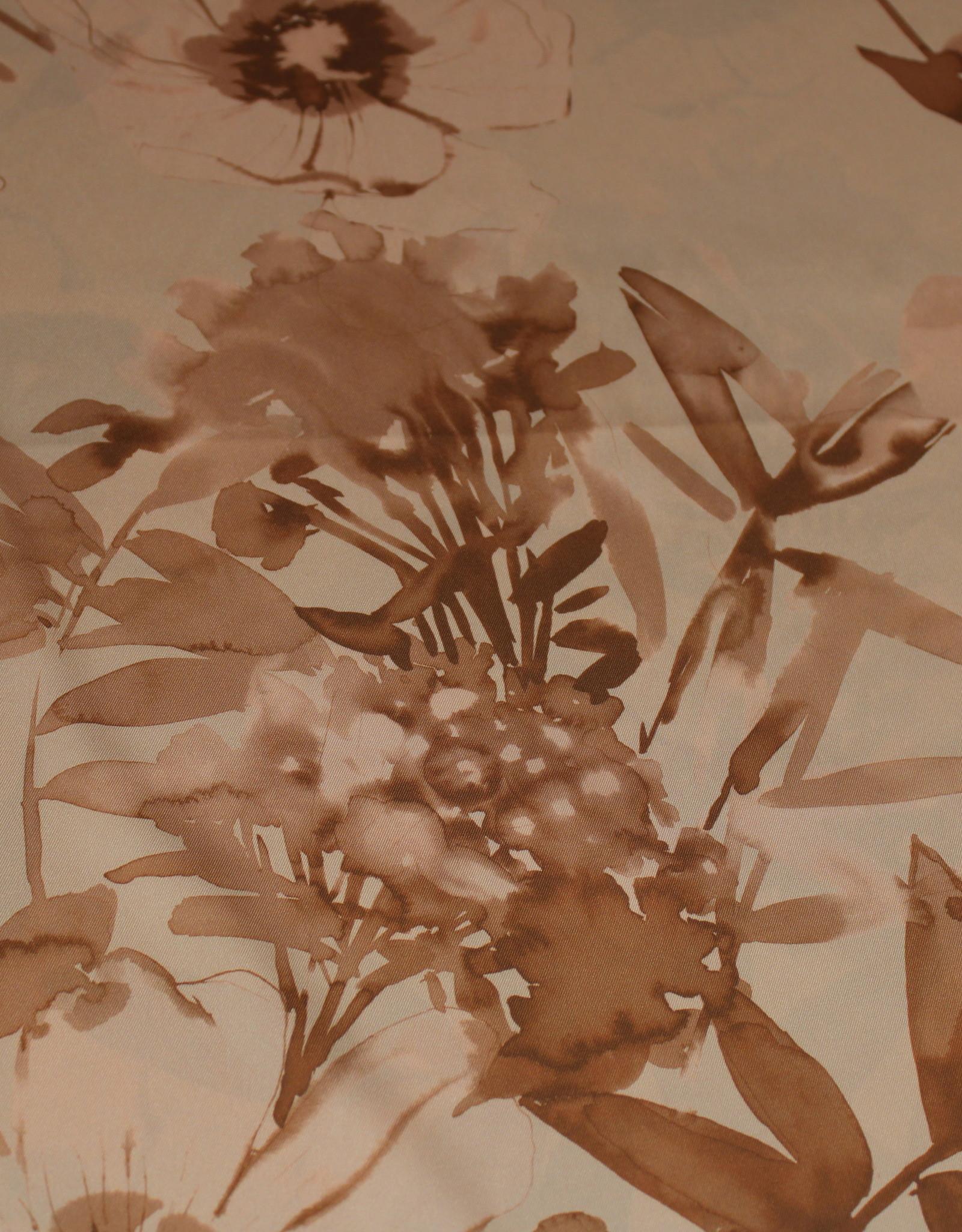 A La Ville Haute Couture Satijn zalmroos-beige flowerprint
