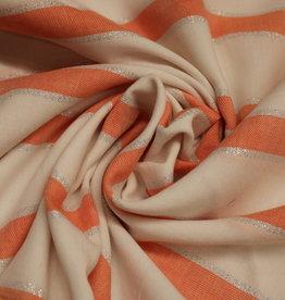 A La Ville Haute Couture Katoen gestreept wit/koraal met zilver lurex