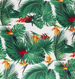 Nooteboom COUPON Satijn tropische print wit 90x140cm