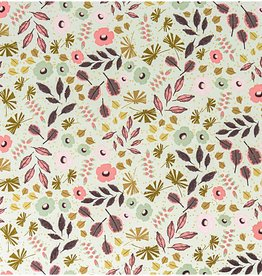 Rico Design Mint/gold flowers leaves