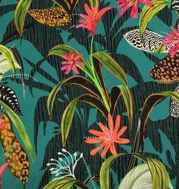 Atelier Jupe COUPON Turquoise viscose met tropische print - Atelier Jupe 30x140cm