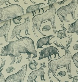 See You At Six COUPON Forest Animals - L - French Terry - Grijs Aqua - R 50x150cm