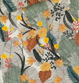 See You At Six COUPON Tropic Flowers - L - Viscose - Krijtblauw - R   35x140cm