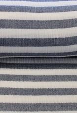 Poppy Double gauze stripe navy/wit
