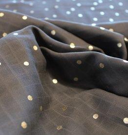 Rico Design Muslin grey gold hotfoil dots