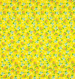Qjutie Katoen lovely liberty flowers yellow