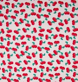 Qjutie Katoen wit met rode kersjes