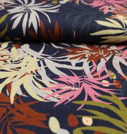 Navy viscose-linnen met kleurrijk bladermotief