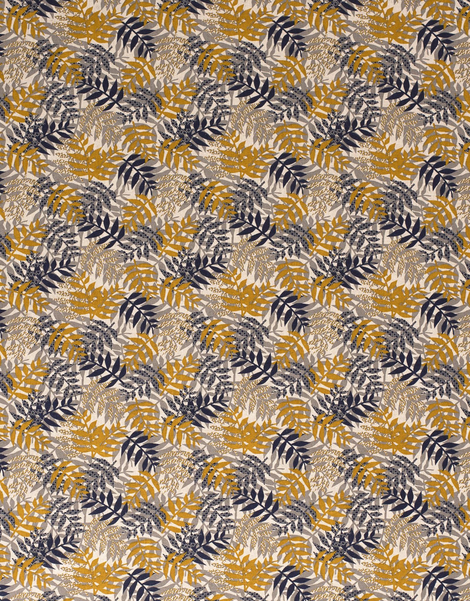 Nooteboom Deco canvas linnenlook oker/grey/navy plants