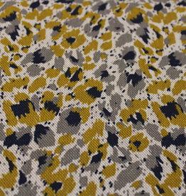 Nooteboom Deco canvas linnenlook oker/grey/navy cheetah print