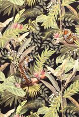 Nooteboom Deco velvet zwart tijger in het oerwoud