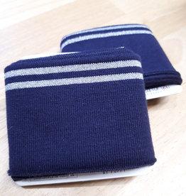 Poppy designed for you Cuff navy met 2 zilveren strepen - Poppy