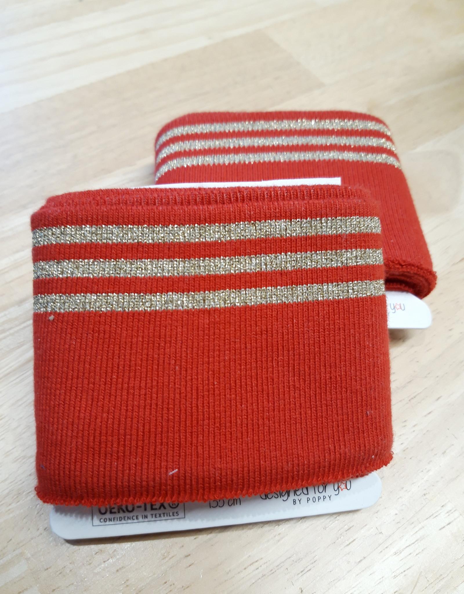 Poppy designed for you Cuff rood met 3 gouden strepen - Poppy