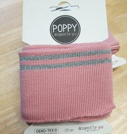 Poppy designed for you Cuff roze met 2 zilveren strepen - Poppy