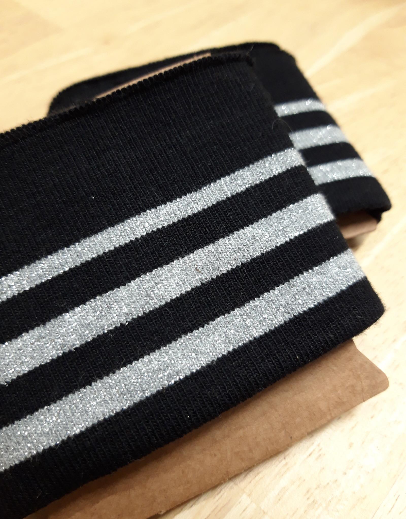 Nooteboom Cuff zwart met 3 zilveren strepen - Nooteboom