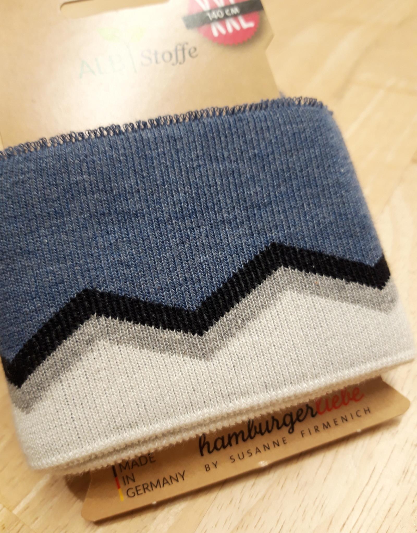 ALB Stoffe Cuff XXL jeansblauw met navy, lichtgrijs en wit - ALB Stoffe