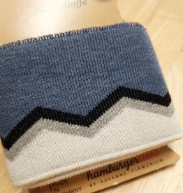 Cuff XXL jeansblauw met navy, lichtgrijs en wit - ALB Stoffe