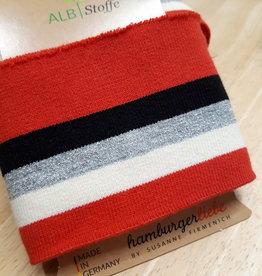ALB Stoffe Cuff XXL rood met wit, zilver en zwart - ALB Stoffe
