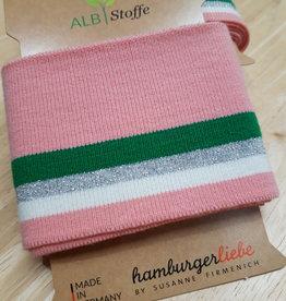 Cuff roze met wit, zilver en groen - ALB Stoffe