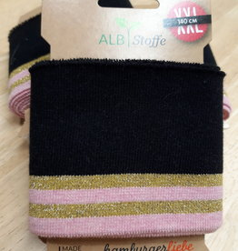 ALB Stoffe Cuff XXL zwart met gouden en roze strepen - ALB Stoffe