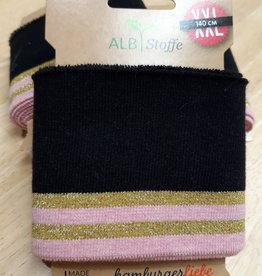 Cuff XXL zwart met gouden en roze strepen - ALB Stoffe