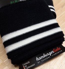 Cuff zwart met wit en reflecterende streep - ALB Stoffe