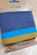Cuff jeansblauw met blauw en oker - ALB Stoffe