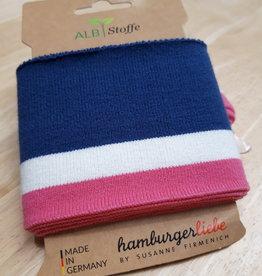 Cuff blauw met wit en roze strepen - ALB Stoffe
