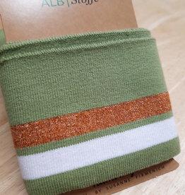 ALB Stoffe Cuff groen met witte en koperkleurige strepen - ALB Stoffe