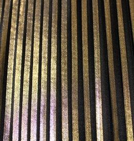 La Maison Victor COUPON plissé zwart met goud - LMV Allegra rok  35x140cm