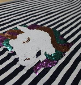Qjutie Paneel omkeerbare pailletten unicorn - gestreept tricot